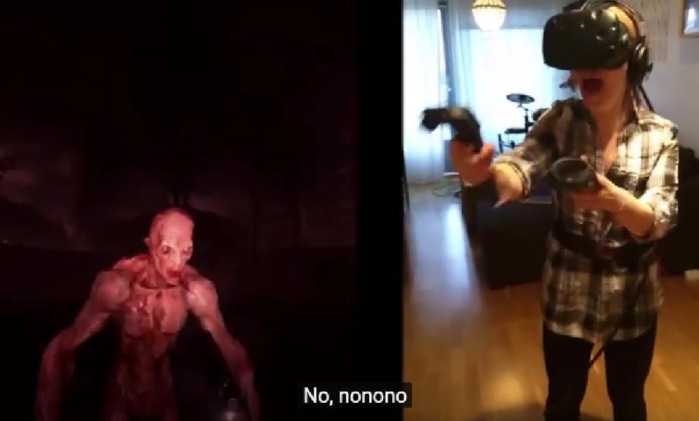 Esta mujer prueba un juego de terror de realidad virtual y lo pasa así de mal - CABROWORLD