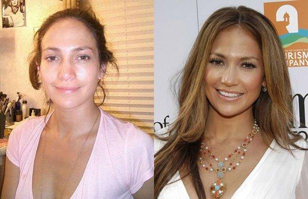 imagenes de famosas con y sin maquillaje