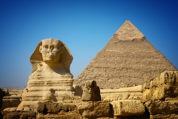 Great Sphinx of Giza and Pyramid of Khafre.